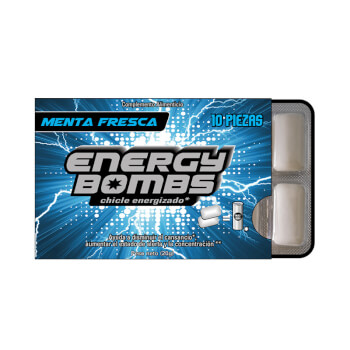 Disfruta de los chicles chicles con cafeína y taurina de Energy Bombs