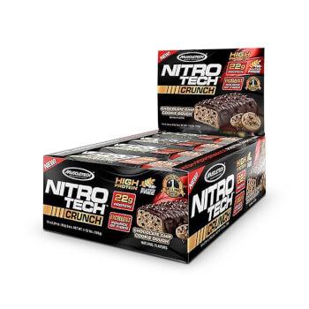 Nitro Tech Crunch son barritas con una alta cantidad de proteína y fuente de fibra.