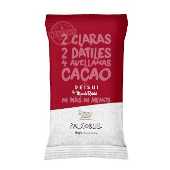 Paleobull Barrita con Reishi y Cacao son 100% naturales sin gluten ni lactosa.