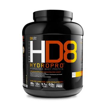 HD8 Hydropro aporta proteína de suero hidrolizada.