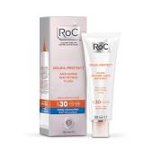Roc Soleil-Protect Fluido Matificante Anti-Brillos SPF 30 reduce los brillos de la cara.