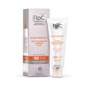 Roc Soleil-Protect Fluido Dermocalmante Alta Tolerancia SPF 50 realza el tono de la piel.