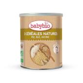 Babybio 3 Cereales Nature fórmula con arroz, avena y trigo.