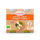 Babybio Menú Guisantes, Chirivía, Calabacín y Ternera potitos ecológicos.